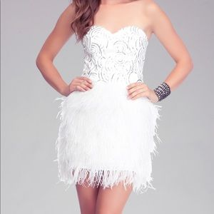 BEBE Isis Sequin Feather Dress White Size X-Small